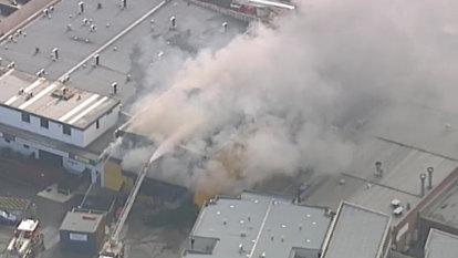 Clark Rubber shop fire in Melbourne's north-west 'under control'