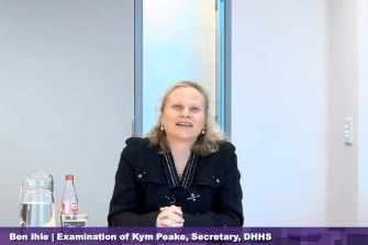 DHHS secretary Kym Peake giving evidence this week.