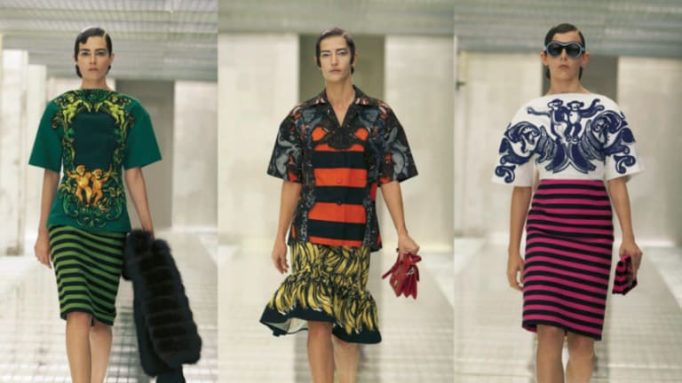 The Prada show, complete with garish prints.
