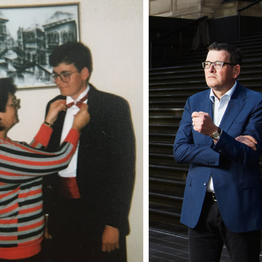 Andrews with his mother, getting ready for his year 10 formal; and as Premier: his 2014 election makeover transformed him from dorky Daniel to dapper Dan.