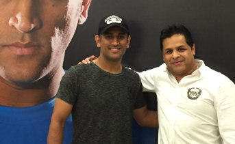Indian great MS Dhoni with Kunal Sharma