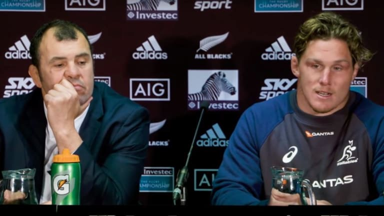 Another series defeat. Michael Cheika and Michael Hooper front the media after the defeat in Auckland.