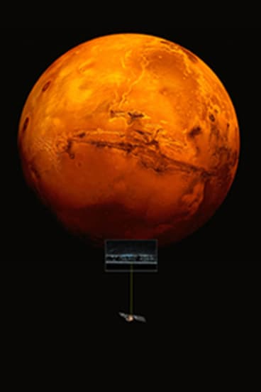 Artistic impression of the Mars Express spacecraft probing he southern hemisphere of Mars. Superimposed is a mosaic of a portion of Planum Australe.