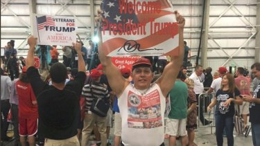 An image posted on Cesar Sayoc jnr's Twitter account showing him at a Donald Trump rally.