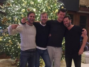 From left: Champion Argentinian polo player Gonzalo Pieres, Ben Tilley, James Packer and Karl Stefanovic in Aspen while Packer was dating Mariah Carey.