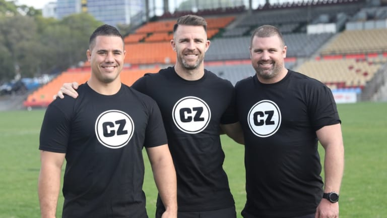 Former NRL star Bronson Harrison with personal trainers Todd Liubinskas and Shane McLeod.