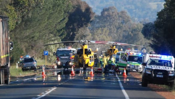 One dead, three critical after truck and car crash south of Perth