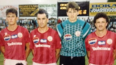 Golden era: Zaljko Kalac (second from right) and Tony Popovic (left) lining up for Sydney United.