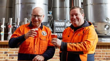 Little Creatures head brewer Russ Gosling and innovation brewer Matthew Jessop at the famous Fremantle venue.
