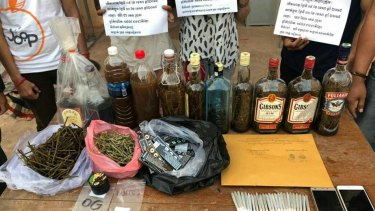Drugs on display in the police station after the arrests at the Soul Train Reggae Bar.