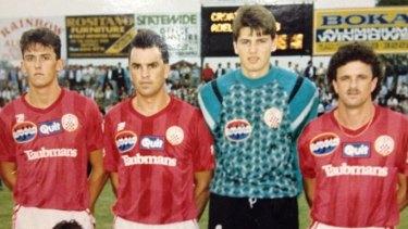 Golden era: Zaljko Kalac (second from right) and Tony Popovic (left) lining up for Sydney United.