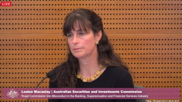 ASIC's Louise Macaulay at the royal commission on Friday.