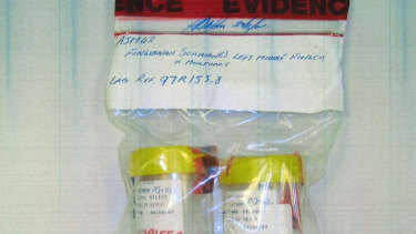 A photograph of AJM42 and AJM46 being received by a UK lab in 2008. AJM42 is crucial as it was later used to glean a DNA profile that allegedly matched that of Mr Edwards.