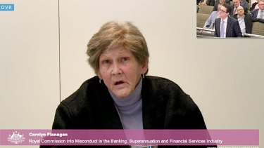Carolyn Flanagan giving evidence at the banking royal commission. Mrs Flanagan lost her home after going guarantor on her daughter's small business.