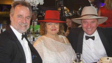 Gina Rinehart, with Coalition MPs Nigel Scullion and Barnaby Joyce at National Agriculture Day celebrations in 2017.