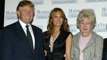 Donald and Melania Trump with the President's sister Maryanne in 2005.