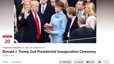 A Facebook page for an online second inauguration for Donald Trump. Several such event invitations have sprung up on the platform.