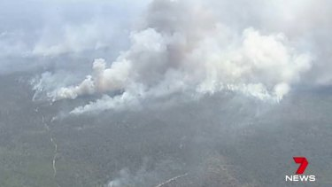 The bushfires ripping through central Queensland coastal bushland.