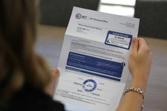 "A new-look ACT government rates assessment notice, issued last year, which displayed the full year's bill in a box labelled ""PLEASE PAY NOW""."