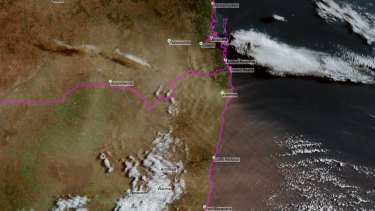 The dust haze shown on satellite images on Wednesday night off the NSW coast before reaching Queensland on Thursday.