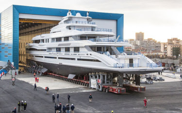 "James Packer is due to take delivery of his new $200 million weekend runabout in June, one of three ""gigayachts"" under construction in Italy."