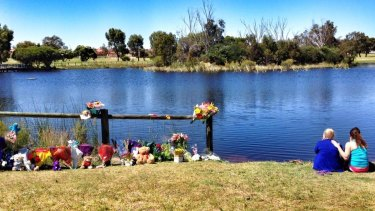 The shrine to Sam Trott by the lake where he was found.
