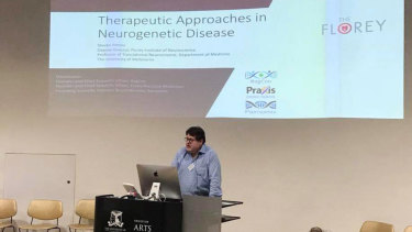 Steven Petrou gives a lecture in May on his work with minibrains and the Genetic Epilepsy Team Australia.