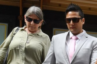 Kim Davis (left) with Blake at an earlier court appearance.