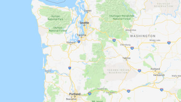 The US Pacific Northwest, showing Washington state's Olympic Peninsula, Seattle and Portland.