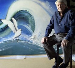 Denis Savill with the Brett Whiteley Japanese: The Screaming Voice or Seagull he sold for $1.6 million in 2012.