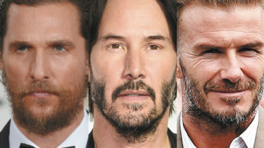 Patchy coverage (from left): Matthew McConaughey, Keanu Reeves and David Beckham have all been declared beard-challenged.