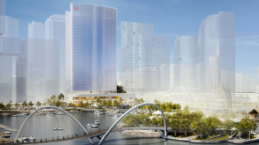 The Chevron Australia office building (artist's impression, centre) has been given planning approval