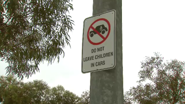 A sign in the car park near the Point Cook venue where the child was found in the car.