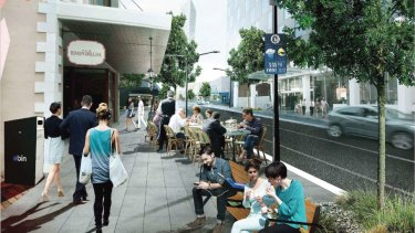 An artist's impression of a revitalised Phillip Street in Parramatta's CBD.