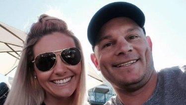 Belinda Simmonds with her husband, former St George Illawarra winger Reece Simmonds.