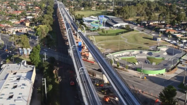 Melbourne's new sky rail.
