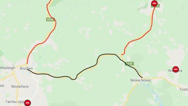 Bruthen-Nowa Nowa Road has reopened, but the red sections of road remain closed.