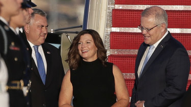 US ambassador Joe Hockey greets Prime Minister Scott Morrison and Jenny Morrison on arrival at Joint Base Andrews.
