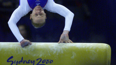 Great Britain's Annika Reeder crashes on the vault, which had been set 5cm too low.