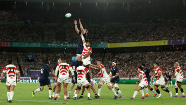Jonny Gray of Scotland jumps highest in the lineout.