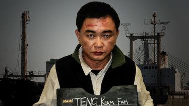 """""""Shore party"""" member, Teng at his arrest."""