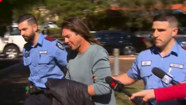 Ben Cousins during his arrest in Victoria Park in April.