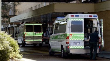Ambulances ramped outside Royal Perth Hospital.