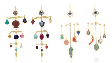 """""""Ornamental Scroll"""" (left, $2410) and """"Eye Peeper"""" (right, $1565) drop earrings by Grainne Morton."""