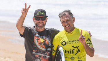 Narrow escape: Urunga surfer Matt Gallagher (right).