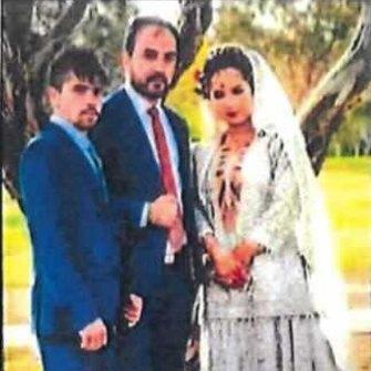 Mohammad Ali Halimi, middle, and Ruqia Haidari, right, on their wedding day.