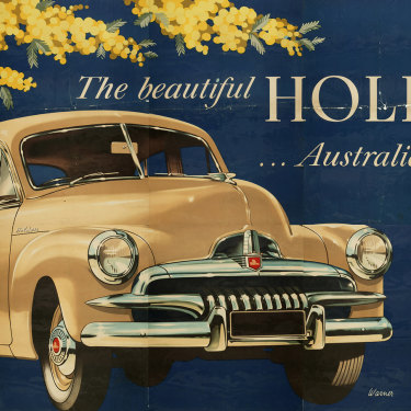 A poster advertising the FJ Holden.
