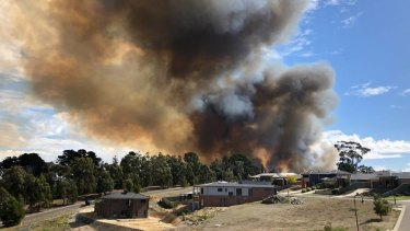 Smoke plumes rise from Tuesday's Mount Clear fire.