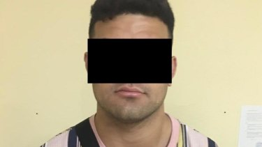 David Fifita in the blacked-out mugshot supplied by Kuta police.