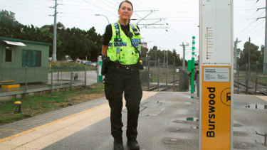 Senior Constable Robinson at Burswood train station this week. She is still determined to solve the case.